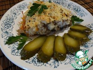 Рецепт Салат-запеканка из курицы, грибов и яблок