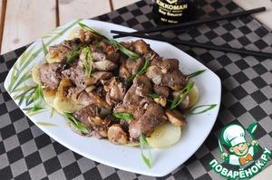 Рецепт Тёплый салат из печени в китайском стиле