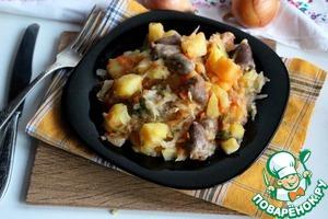 Рецепт Тушеная капуста с картофелем и куриными сердечками