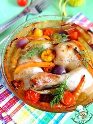 Рецепт Куриные окорочка, запеченные с овощами
