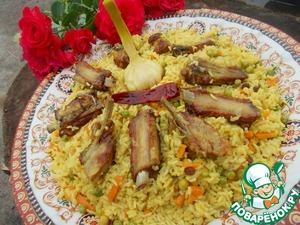 Рецепт Плов с ребрышками и зеленым горошком