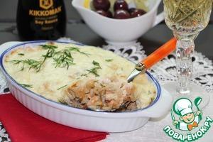 Рыбно-рисовая запеканка под сырно-сливочным соусом простой пошаговый рецепт приготовления с фотографиями