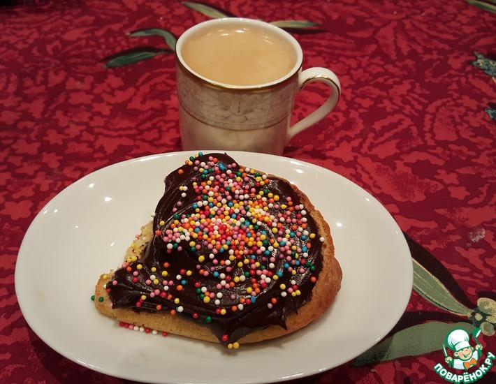 Рецепт: Бисквитный бутерброд с двойным шоколадом к кофе