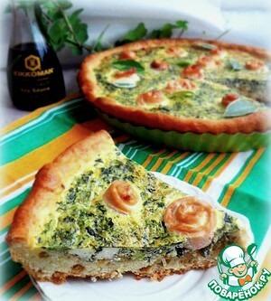 Рецепт Творожный пирог с рыбными розами в заливке