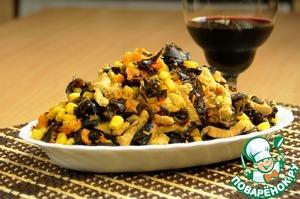 Рецепт Мясной салат с древесными грибами