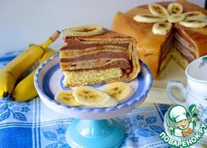 Рецепт Блинный торт с бананами и шоколадным муссом
