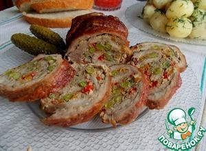Рецепт Мясной рулет с печеночно-овощным омлетом