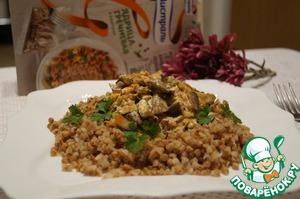 Рецепт Гречка с грибами и баклажанами в сметанном соусе