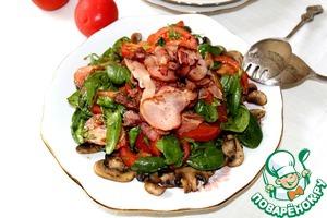 Рецепт Салат из шпината и бекона на грибной подложке
