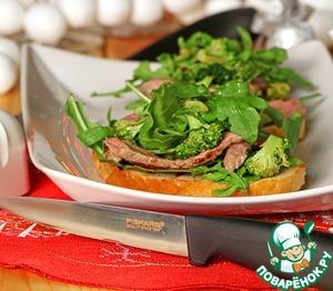 Рецепт Брускетта со стейком и салатом