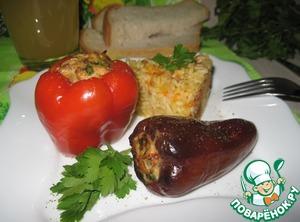 Рецепт Перец, фаршированный горбушей и шпинатом