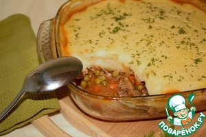 Рецепт Коттеджный пирог с цветной капустой и зеленый горошком