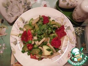 Рецепт Теплый салат с кальмарами и кабачком