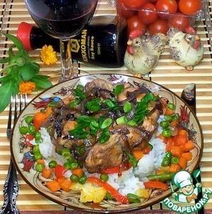 Рецепт Карамелизированные курица и красный лук