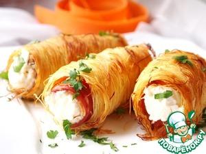 Рецепт Закусочные трубочки с беконом и творожным сыром