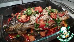 Рецепт Запеченный карп с овощами