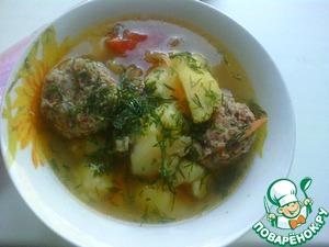 Рецепт Картошка с тефтелями из мяса и гречки