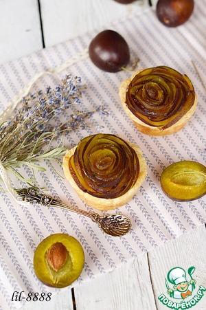 Рецепт Тарталетки из слоеного теста со сливой