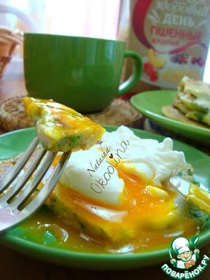 Рецепт Пшённые блины с припёком и с яйцом-пашот. Завтрак