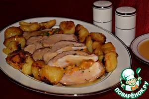 Рецепт Свинина, запечённая с курагой и картофелем
