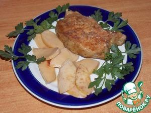 Рецепт Свинина запечёная на подушке из айвы