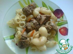 Рецепт Макароны с куриной печенью