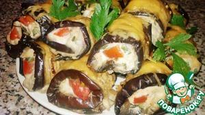 Рецепт Рулетики из баклажан с куриным филе