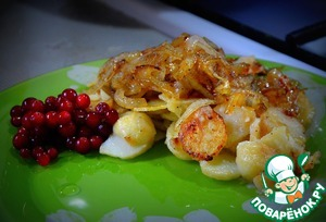 Рецепт Жаренный картофель с яблоками