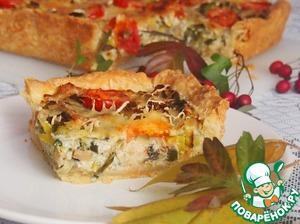 Рецепт Киш с луком-пореем и грибами
