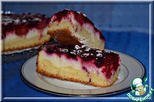 Пирог с творогом и замороженными ягодами рецепт с