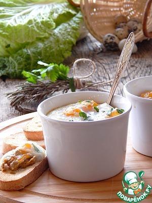 Рецепт Грибное пюре с яйцами-кокот