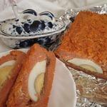 Запеканка из рисовых хлопьев с томатом и яйцом