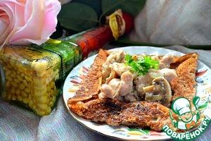 Рецепт Бретонская галета с курицей в сливках и шампиньонами