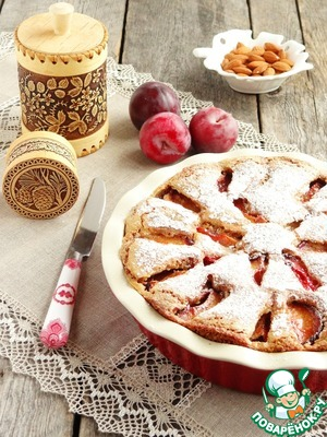 Рецепт Пирог из пшенных хлопьев со сливами