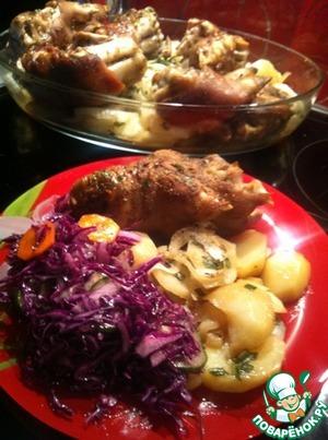 Рецепт: Свиные ножки на картошке