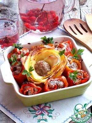Рецепт Картофель, запеченный с фаршированными перцами