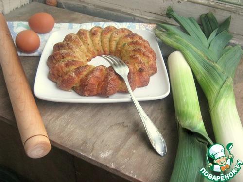 Как готовить Пирог из лук-порея и кусочков сала домашний рецепт с фотографиями пошагово #18
