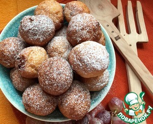 Рецепт Воздушные творожные пончики с миндалём и шоколадом