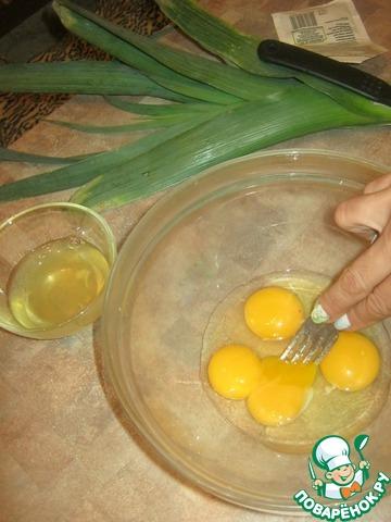 Как готовить Пирог из лук-порея и кусочков сала домашний рецепт с фотографиями пошагово #6