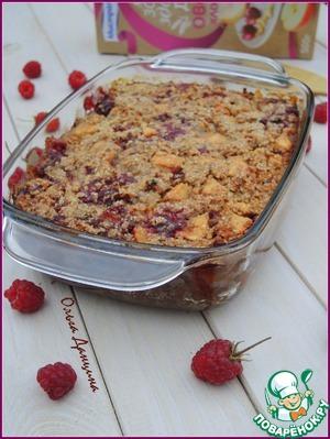 Рецепт Овсяная запеканка с малиной и яблоками