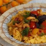 Тыквенно-рисовая каша с креветками
