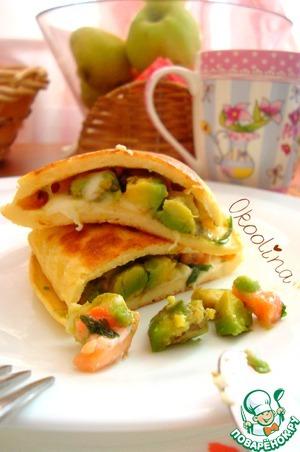 Рецепт Яичный блин с авокадо. Быстрый завтрак
