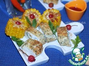 Рецепт Куриная грудка, фаршированная морепродуктами и сыром