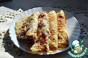 Рецепт Блины с сыром и копченым мясом