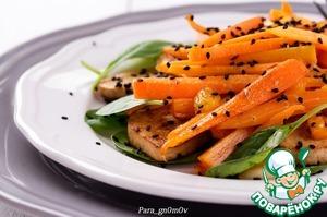 Рецепт: Морковь с жареным тофу и апельсиновым соусом