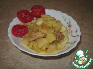 Рецепт Нудли с картофелем и свининой