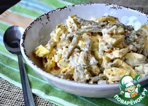 Салат с омлетом и стручковой фасолью вкусный пошаговый рецепт с фото