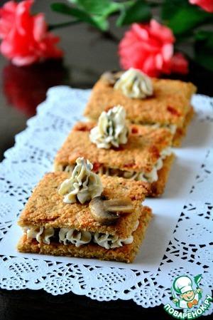 Рецепт Овсяные крекеры со сливочно-грибным кремом