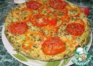 Рецепт Кабачковая запеканка с творогом и овощами