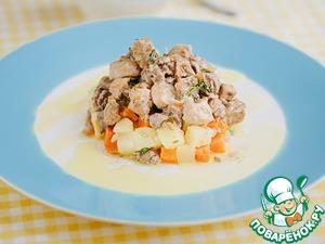 Рецепт Теплый салат из мясного ассорти со свежей зеленью